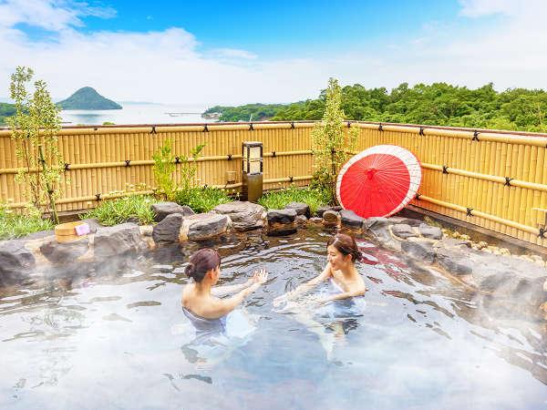 天草富士の見える昼の露天風呂