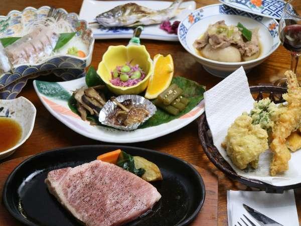 【米沢牛ステーキプラン例】上質な米沢牛と地元で採れた山菜料理・ヤマメの刺身や塩焼、季節の鍋料理など