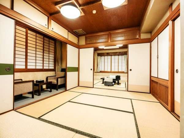 ゆのごう館のグレードアップ和室(一例)10畳以上+次の間付きのお部屋です。