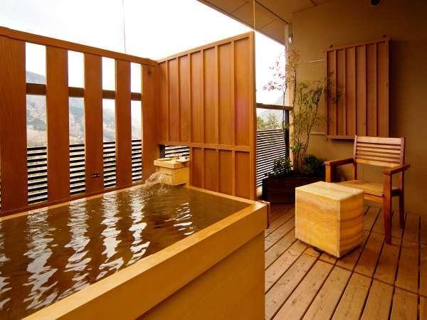 【客室テラス露天風呂】全客室に檜の露天風呂完備☆※客室露天は温泉ではございません。