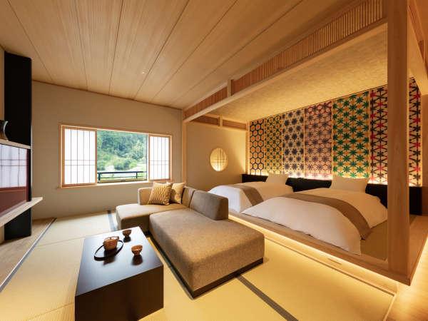 【和室】本館の角に位置するお部屋です。窓からは音信川を望みます。