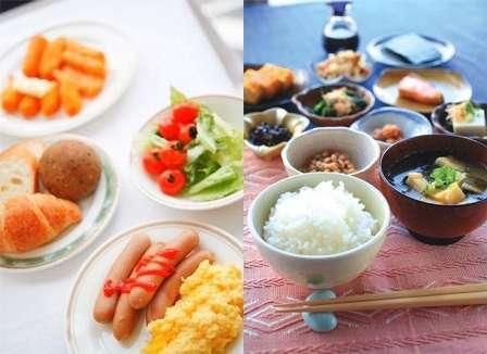 和食・洋食の朝食バイキングです。一日の活力源に。