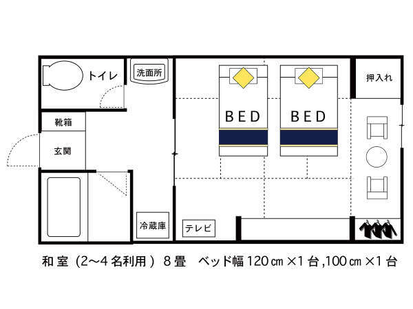 本館 和風ツイン 間取り図 120cmと100cmのベッドのお部屋です。