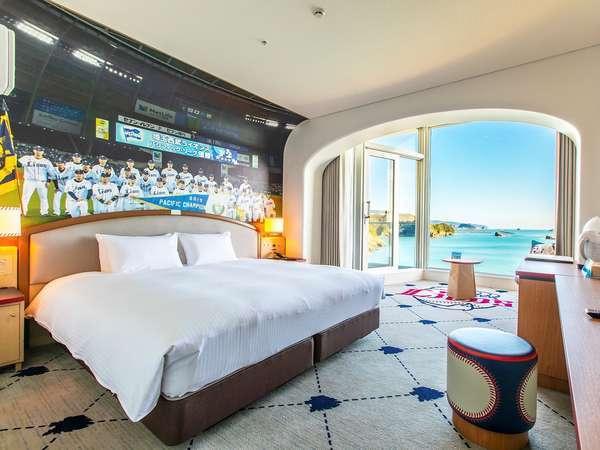 【ライオンズダブルルーム】絨毯には大きなロゴ!広々とした客室の全1部屋!