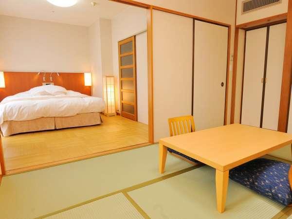和洋室B(シモンズベッド/ワイドダブル+6畳・バスなし)※山側のお部屋です。
