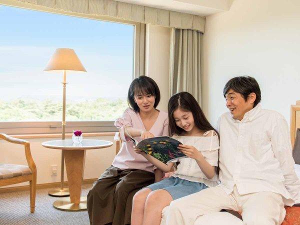 *【客室(一例)】周辺には観光地がいっぱい。どこに行こうか、みんなで作戦会議
