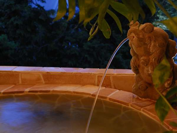 天然温泉が流れ出すのはバリ彫刻のカエルオブジェ