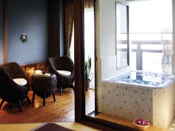 【海望む半露天風呂付き客室】ご家族、女子会、カップルにも人気、モダンアジアン和室
