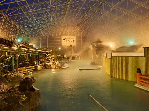 硫黄谷庭園大浴場・多数の源泉を持ち豊富な湯量を誇る掛け流し式天然温泉