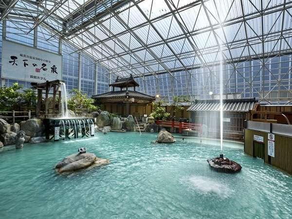硫黄谷庭園大浴場・多数の源泉を持ち豊富な湯量を誇る掛け流し式天然温泉※19:30~22:00は女性専用時間