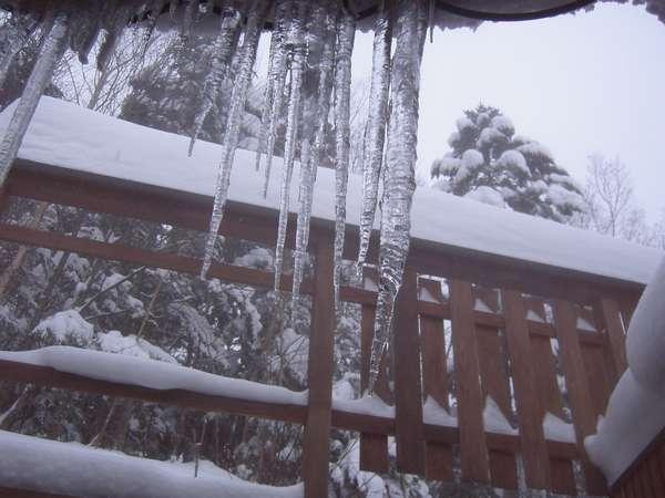 屋根から下がる大きな氷柱、朝落として回る前に。