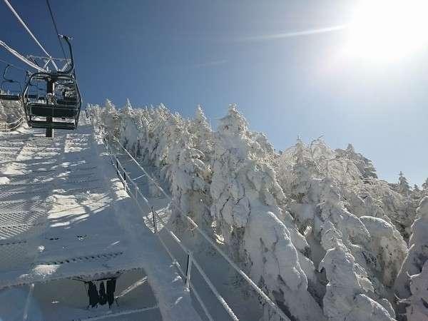 樹氷の間を日本一標高の高いリフトで登り横手山山頂へ。
