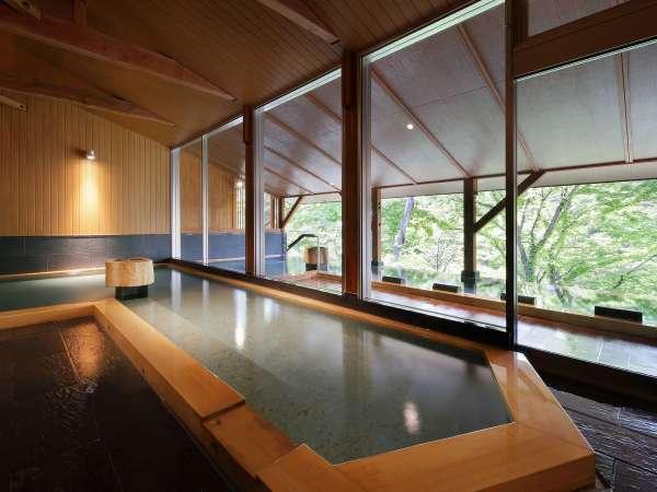 新緑の大浴場(樹來の湯)右斜めからのアングル