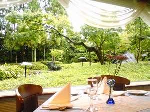 レストラン セェールダルジャンからの庭景色