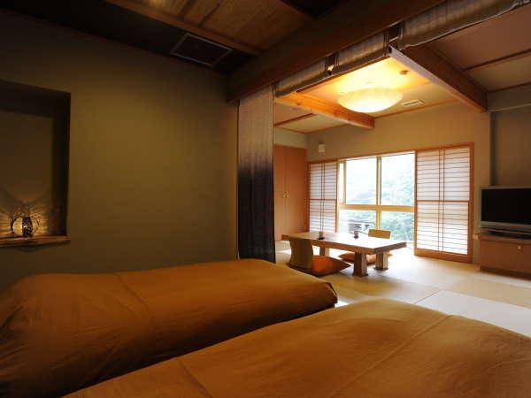 別館の客室は3部屋とも寝室とリビングが一続きになった間取りです。(写真はつばき)