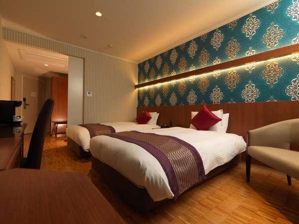 スタンダードツイン◆22~29平米◆客室ごと印象的の異なる壁紙とレイアウト