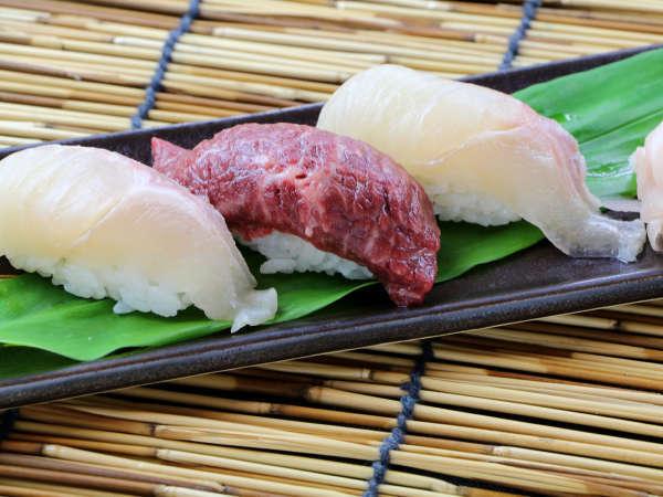 夏雅 食材は鮮度が命!厳選した仙台牛と伊達いわなをにぎりでお召し上がり下さい。