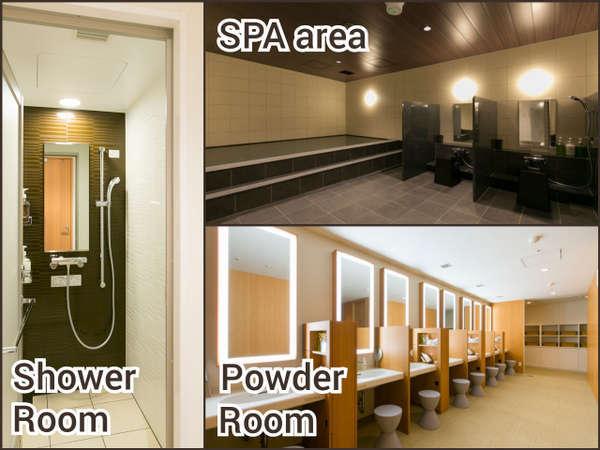 男性・女性各エリアの大浴場にはシャワールーム、パウダールームもございます。