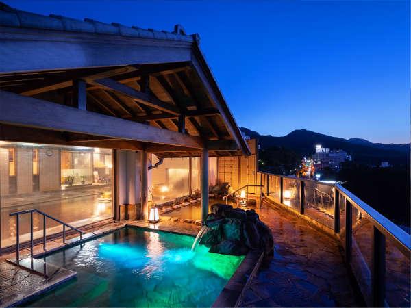 8階展望露天風呂から見える街並みと榛名山のコントラストはまさに絶景!2種の温泉と共にお愉しみ下さい