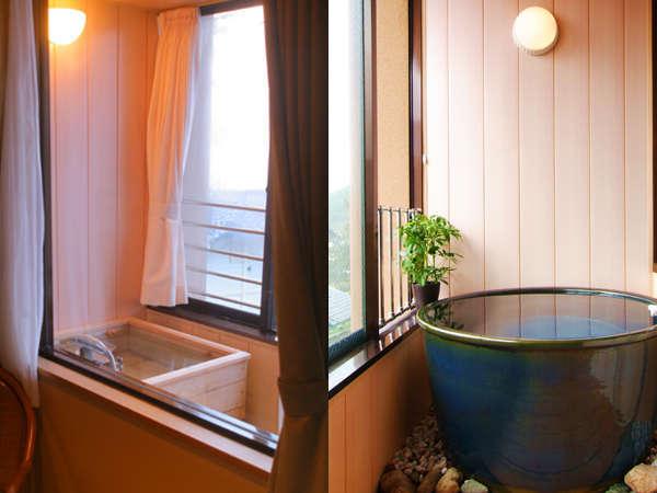 【風呂付客室(桧、信楽焼)/一例】お風呂付客室は桧又は信楽焼の湯舟付き