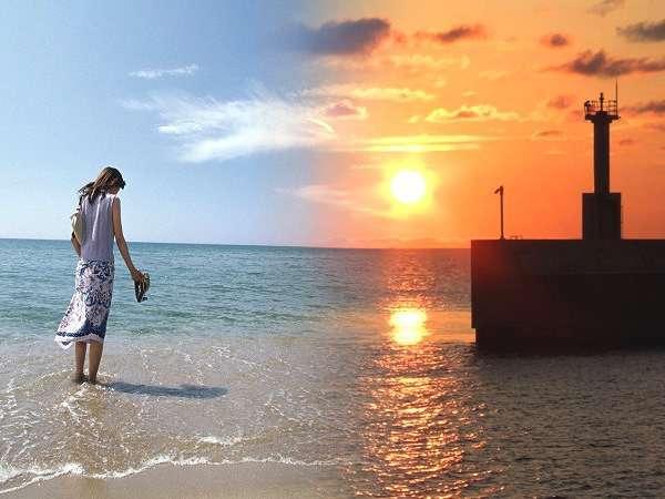 【夕日ヶ浦温泉 夕日浪漫 一望館】一歩踏み出せば海!ビーチに真っ青な海と空が広がる『海やすみ』