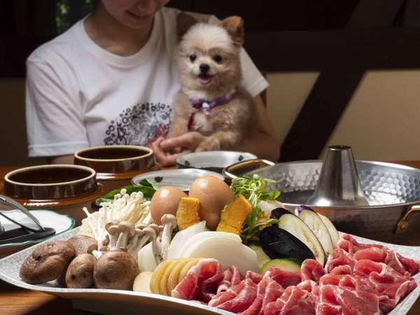 コテージへお届け「十勝産豚しゃぶ」【夕食一例】