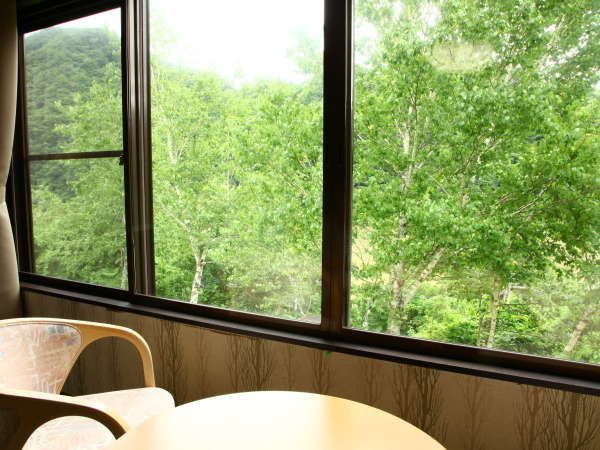 【本館】部屋からは季節の山々の風景や雄大な阿賀野川を望む。