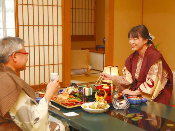お部屋食-ゆったりとした、お食事時間をお楽しみください。