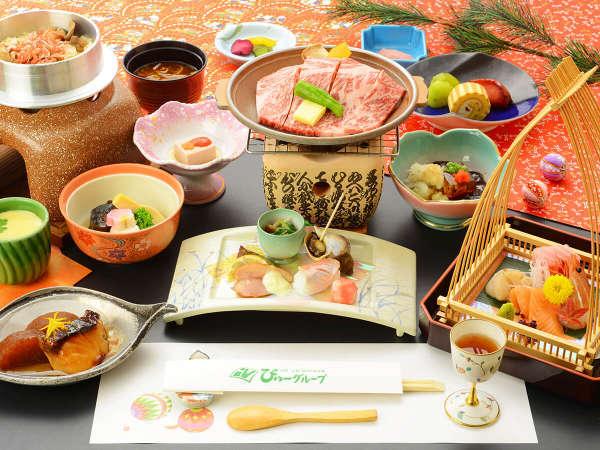 甲州牛贅沢会席(陶板焼き)夕食一例