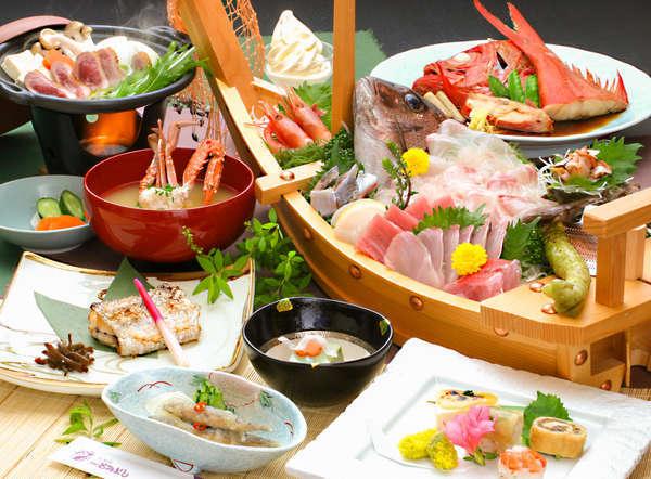 お舟盛り付きの磯料理は、ボリュームたっぷりの味自慢!