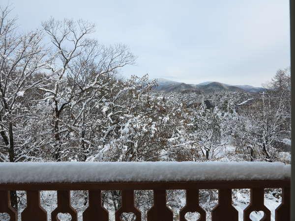 VIPダブルルームのウッドデッキからからの冬の眺め