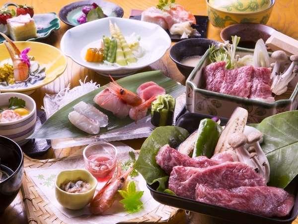 【夕食】全国的に有名な北海道のブランド牛「白老牛」特別リクエスト御膳でをお楽しみください。