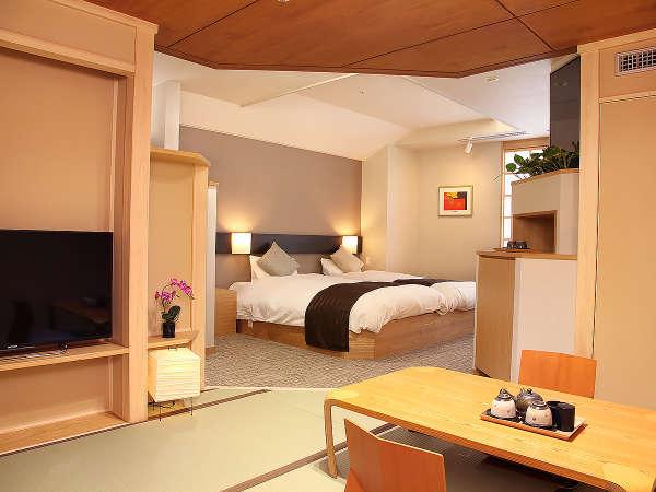 【和モダン客室 和風】3名以上の場合、2ベッド+畳スペースに布団1~2枚でご用意致します。