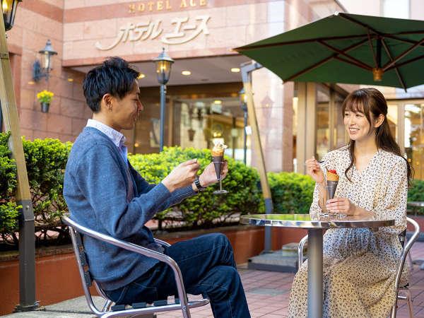 【朝カフェ】晴れた日にはテラスにてお食事が出来ます♪