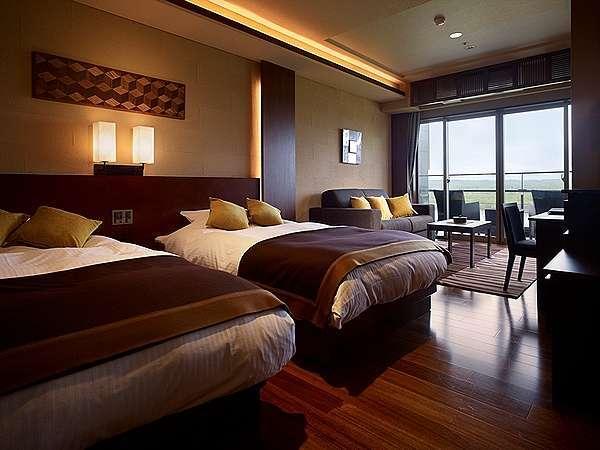 【豊洲亭】デラックス/40㎡の洋室タイプ。ベッドは幅120×200㎝の広々サイズ