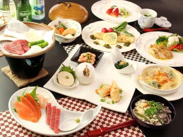 【ホテル サニーバレー】【白馬栂池温泉】信州食材の和洋折衷料理。館内Wi-Fi利用可能