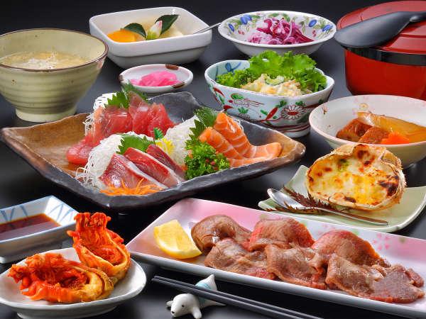 夕食一例「仙台牛タンと三陸産刺身」