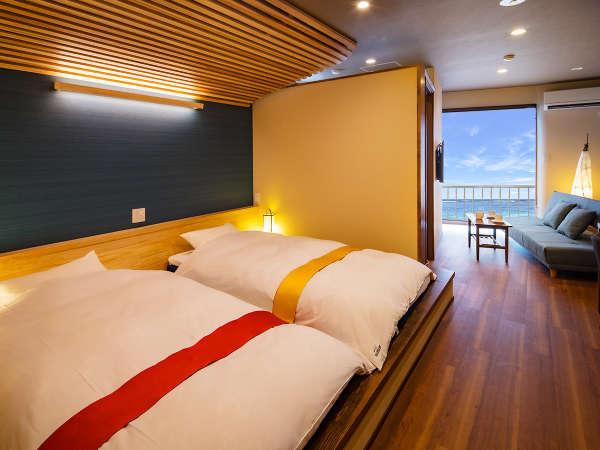 ◆リニューアル客室イメージ◆海を望む展望風呂付き!目の前に広がる開聞岳&オーシャンビューの絶景!