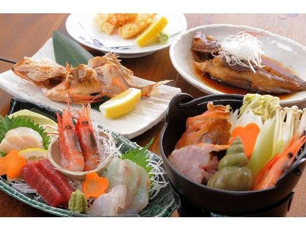 お料理の例です。おおば・ガヤ・浜鍋・旬のお刺身・天ぷら