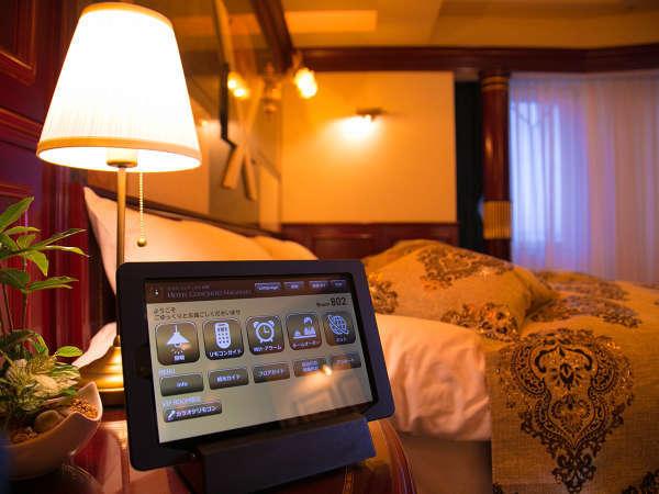 全客室にご案内用のタブレットを設置。簡単操作でご利用いただけます。
