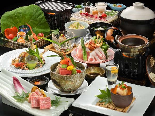 どのプランも季節食材、地元食材を選りすぐり月替わりでご用意しております。写真:スタンダード夕食一例