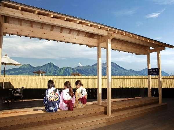 足湯から眺める阿蘇五岳