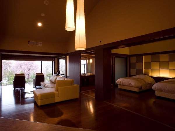 ◆特別室/露天風呂、リビングダイニング、ミニキッチンなどを備えた水の謌最上級のお部屋。