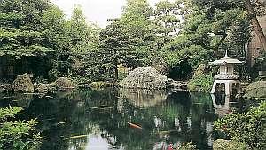 客室から一望できる自然美溢れた日本庭園