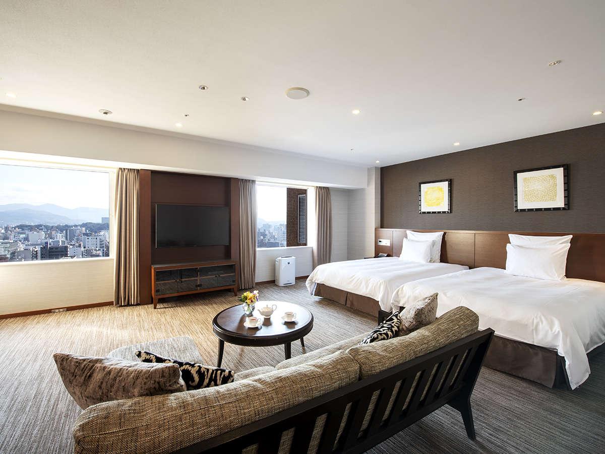 53平米の広さと上質なデザインと機能的な家具が人気の秘密。エグゼクティブツイン★クラブ特典付★