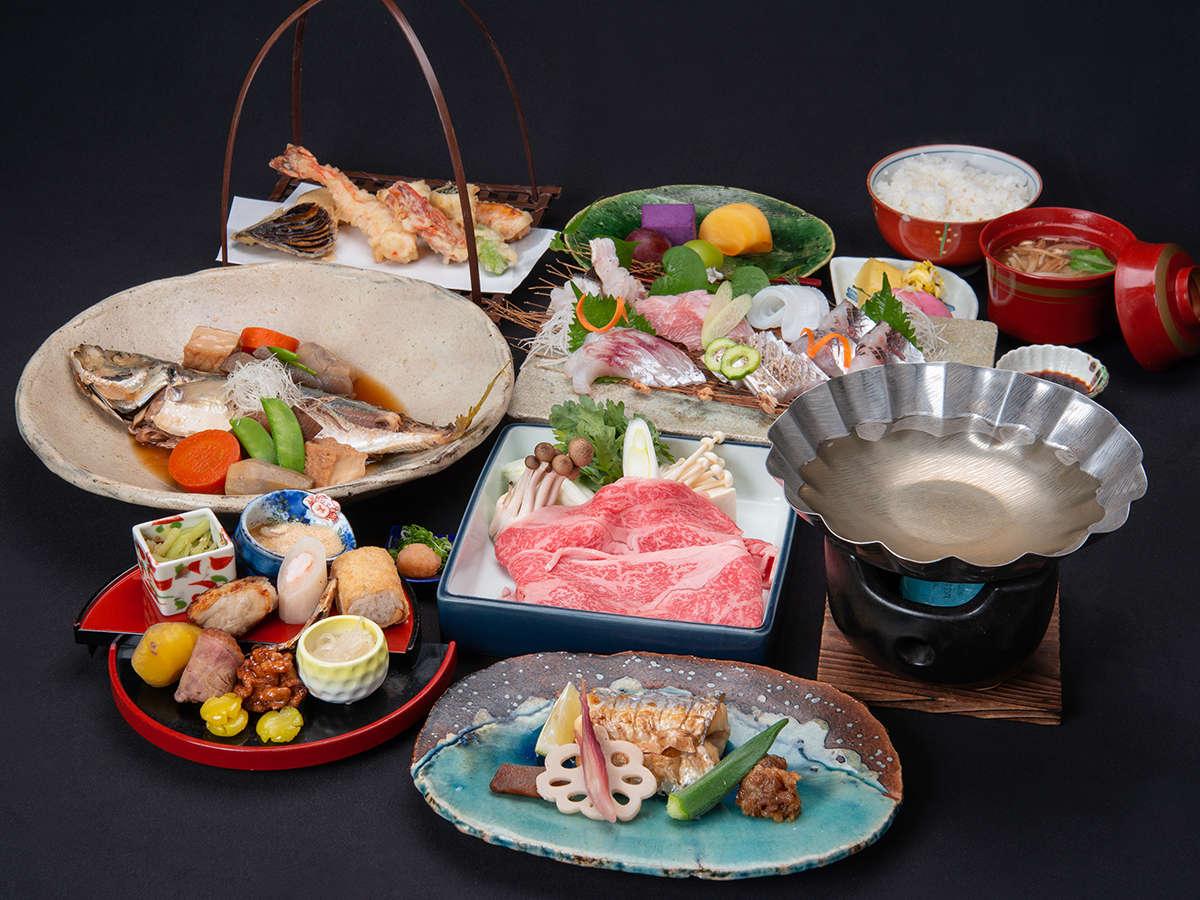 *【熊野牛しゃぶしゃぶ&海の幸三昧】お肉もお魚も食べたい!そんなあなたにオススメ♪(一例)