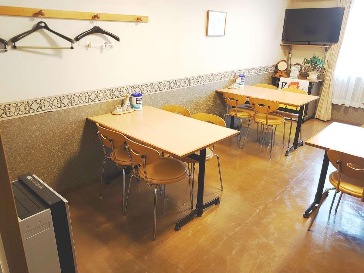 食堂 朝食付のお客様はこちらでお召し上がります。空気清浄器設置