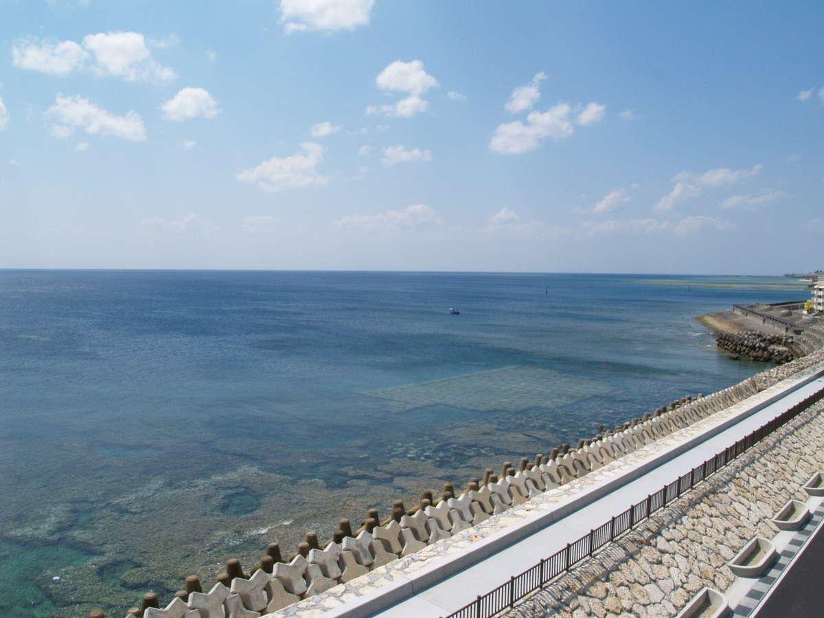 目の前の海と防波堤。朝から海を見ながら防波堤をお散歩!!気持ちいいですよ^^