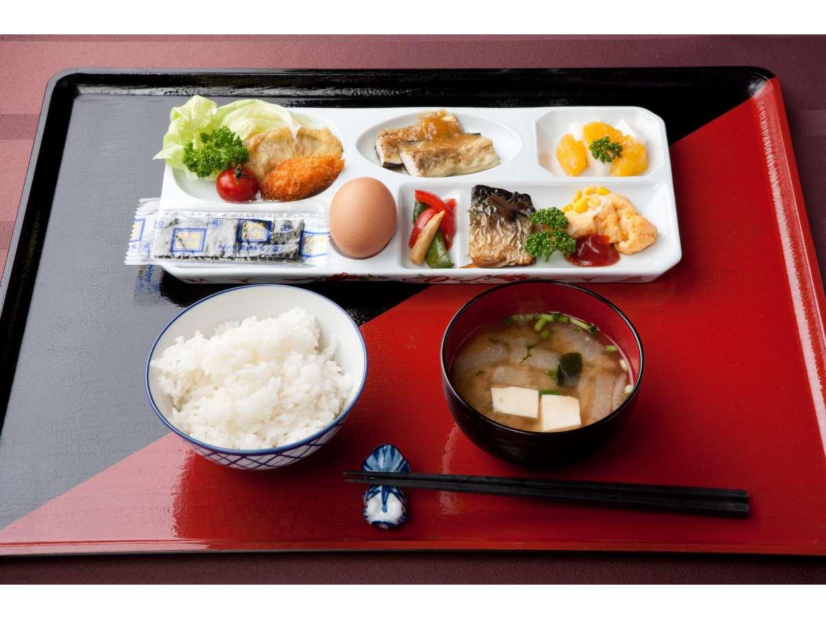 朝食付プランの和食一例