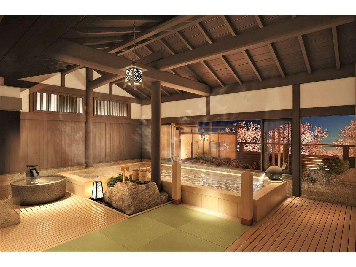 【大湯処:蒼雲】滑りにくく温かみのある畳の浴室の床